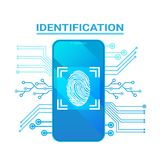 Smart Phone Identification Scanning Fingerprint Modern Access And Security Protection System. Vector Illustration Royalty Free Stock Photo
