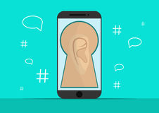 Smart phone with image of ear.Background with simple line style icons.The concept of security and protection of Stock Photo