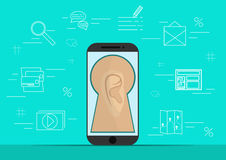 Smart phone with image of ear.Background with simple line style icons.The concept of security and protection of Royalty Free Stock Image