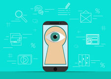 Smart phone with image of eye.Background with simple line style icons.The concept of security and protection of Royalty Free Stock Photography