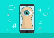 Smart phone with image of eye.Background with simple line style icons.The concept of security and protection of Royalty Free Stock Images
