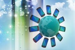 Smart Phone intorno al globo Fotografia Stock Libera da Diritti