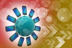 Smart Phone intorno al globo Fotografie Stock Libere da Diritti