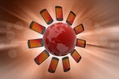 Smart Phone intorno al globo Immagini Stock