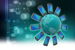 Smart Phone intorno al globo Immagine Stock