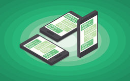 Smart phone Isometric chat Stock Photos