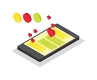 Smart phone Isometric chat Stock Photo