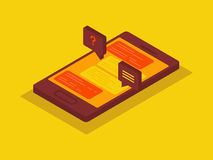 Smart phone Isometric chat Stock Images