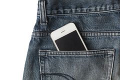 Smart phone in jean Royalty Free Stock Photo