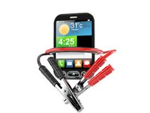 Smart phone with jumper cable Royalty Free Stock Image