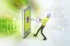 Smart phone with key Royalty Free Stock Photo