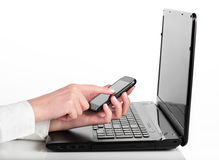 Smart phone and laptop Stock Image