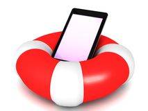 Smart phone life saver. An illustration of a smart phone placed on a life saver floater on a white  background Stock Photo