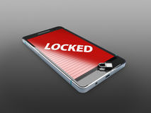 Smart phone with lock, abstract background for solution to security smartphone 3d Illustration.  Stock Photography