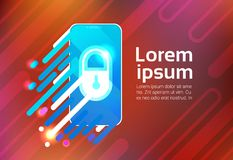 Smart Phone Lock Sceern Data Privacy Protection Security Concept Identification App Smartphone. Vector Illustration Stock Photos