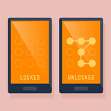 Smart Phone Locked And Unlocked Swipe Icon Stock Images