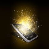 Smart phone with magic light and falling stars Stock Image