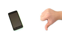 Smart phone and male hand bad gesture Stock Image