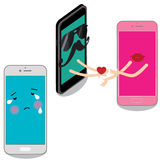 Smart phone man delivers a heart to pink cell. Stock Images