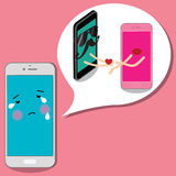 Smart phone man delivers a heart to pink cell. Stock Photography