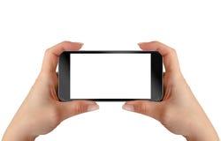 Smart Phone in mani della donna Posizione orizzontale Fotografia Stock Libera da Diritti