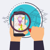 Smart phone with map under a magnifier. Icons Flat Vector Illust. Ration.v Royalty Free Stock Photos