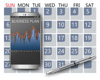 Smart phone market concept. Smart phone with calendar and business plan royalty free illustration