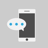 Smart phone and massege,flat style. Smart phone with one new message,flat style Royalty Free Stock Images