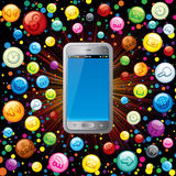 Smart Phone with Media Icons. Touchscreen Smart Phone with Cloud of Application Icons Royalty Free Stock Photography