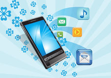 Smart phone and media icons Royalty Free Stock Images
