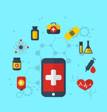 Smart phone with medical icons for web design, modern flat style Royalty Free Stock Image