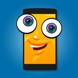 Smart phone mobile big eyes character cartoon smile yellow cute happy Stock Photography