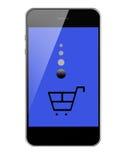 Smart Phone mobile con il carrello di acquisto isolato su fondo bianco Fotografie Stock Libere da Diritti