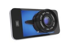 Smart Phone mobile con il grande obiettivo rappresentazione 3d Immagine Stock Libera da Diritti