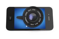 Smart Phone mobile con il grande obiettivo rappresentazione 3d Immagini Stock Libere da Diritti
