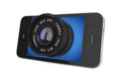 Smart Phone mobile con il grande obiettivo rappresentazione 3d Fotografie Stock Libere da Diritti