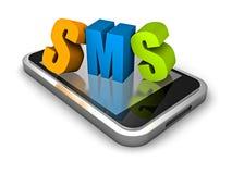 Smart Phone mobile con le lettere variopinte di parola di SMS Fotografia Stock