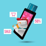 Smart Phone Mobile Credit Card Gift Vector Royalty Free Stock Photography