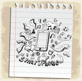 Smart Phone Mobile doodle  on paper note, vector illustration Stock Photography