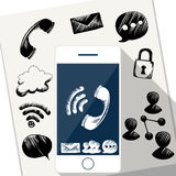 Smart Phone Mobile with doodle sketch Royalty Free Stock Images