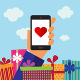 Smart-phone mobile, heart and gifts Stock Photo