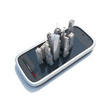 Smart phone mobile maps and navigation 3d illustration. Royalty Free Stock Image