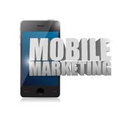 Smart phone with a mobile marketing sign Stock Photo