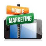 Smart phone with mobile marketing sign Stock Photo