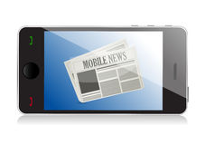Smart phone with mobile news Stock Photography