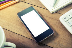Smart phone mobile with office equipment Stock Photo