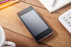 Smart phone mobile with office equipment Stock Images