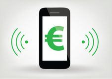 Smart phone / mobile phone icon with euro sign,  wireless symbol Stock Photos