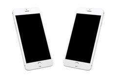 Smart Phone moderno bianco d'argento isolato Due posizioni isometriche immagini stock libere da diritti