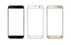 Smart Phone moderno in a tre colori Schermo bianco isolato per il modello fotografia stock libera da diritti